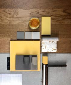 Love yellow and grey together! Mood Board Interior, Interior Design Boards, Home Design Decor, Interior Paint, Teachers Room, Concrete Interiors, Material Board, Mood And Tone, Presentation Layout