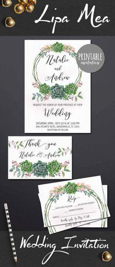 Bohemian Wedding Invitation Succulent, Floral Wedding Invitation Suite, Spring Summer Boho Wedding Invite, Printable Wedding Invitation Set, Wedding Trends. lipamea.etsy.com