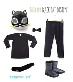 Easy to throw together cat costume with cat mask! #costumes - https://happythought.co.uk/craft/animal-costume-ideas