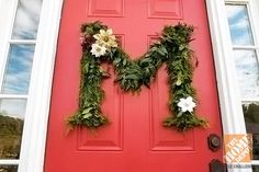 Holiday Door Decorating Ideas for Your Small Porch - Monogram wreath