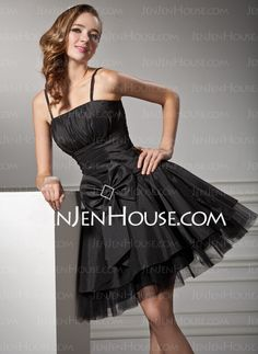 A-Line/Princess Strapless Taffeta Cocktail Dresses With Ruffle (016008241) Was $139.00 Now US $77.49