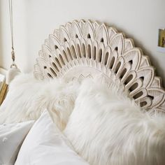 Bring some global style to your space with this Mandala Carved Faux Headboard. Featuring an intricate design and a White Wash finish, it's an easy way to add visual interest to your space. Faux Headboard, White Headboard, White Bedroom, Master Bedroom, Headboard Decor, Bedroom Small, Bedroom Furniture, Bedroom Decor, Bedroom Ideas