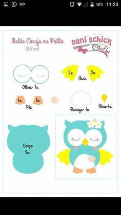 Fabric owls with free molds to print Craft Ideas Felt Animal Patterns, Owl Patterns, Applique Patterns, Stuffed Animal Patterns, Kids Crafts, Owl Crafts, Diy And Crafts, Decoration Creche, Craft Ideas