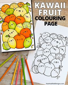 Kawaii Citrus Fruit colouring page - Kate Hadfield Designs Easy Doodles Drawings, Simple Doodles, Cool Art Drawings, Kawaii Drawings, Colorful Drawings, Cute Doodle Art, Doodle Art Designs, Doodle Art Drawing, Fruit Coloring Pages