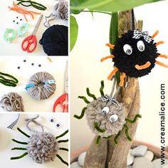 diy-araignee-Halloween-pompon Diy Halloween, Crochet Pour Halloween, Theme Halloween, Bricolage Halloween, Halloween Spider, Kids And Parenting, Plant Hanger, Diy For Kids, Crafts To Make