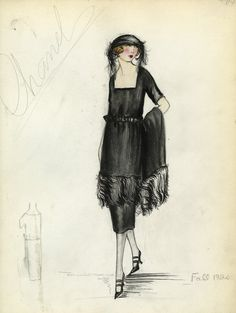 """""""Henri Bendel Fashion and Costume Sketch Collection. Sketch HB 36-07. 1920."""", 1920. Printed material. Brooklyn Museum. (SC01.1_Bendel_Collection_HB_36-07_1920.jpg)"""