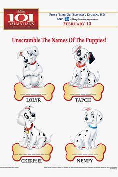 Fun Kids & Family Activities: Unscramble the Names of the 101 Dalmatian Puppies!