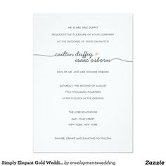 "Simply Elegant Gold Wedding Invitation 5"" X 7"" Invitation Card"