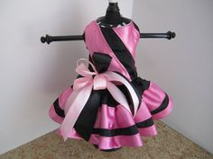 Dog Dress  Xs Black with Pink   By Nina's by NinasCoutureCloset