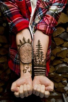 Best hipster tattoo. Black forest, trees, wood, etc. Style: Blackwork. Color: Black. Tags: Best, Awesome, Hipster
