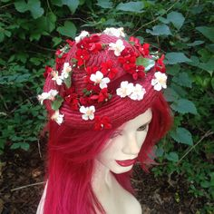 Vintage 1950s Cherry Red Small Brim Straw Pompadour Style Hat, Red & White Flowers, Red Velvet Trim, Pinup, Retro Summer To Fall…