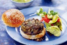 Lamb burger with roasted aubergine and pistachio mayonnaise – Recipes – Bite