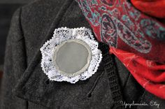 Items similar to Lace brooch with reflective fabric on Etsy Diy Sewing Projects, Sewing Ideas, Inner Circle, Sari, Brooch, Stitch, Trending Outfits, Coat, Unique Jewelry