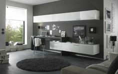 aménagement bureau moderne, peinture murale gris anthracite, carrelage sol assorti et meuble de rangement laqué blanc