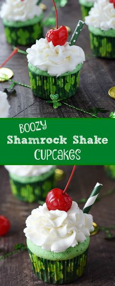 These Boozy Shamrock Shake Cupcakes are minty delicious and topped with Godiva® White Chocolate Buttercream for the perfect St. Patrick's Day treat | cookingwithcurls.com