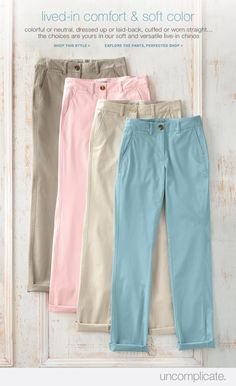 Lived-in comfort and soft color of J. Jill  versatile chinos.