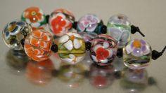 Handmade Lampwork Glass Bead Floral Orphans by Fluidglassartbeads, £15.00