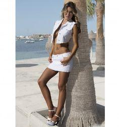 FALDA CINCIA DENIM BLANCO, SWAROVSKI - Tanit Jeans Ibiza