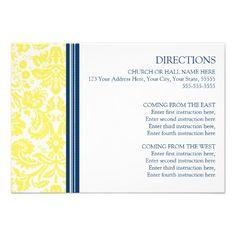 Wedding Direction Cards Lemon Blue Damask *recipe cards