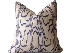 ADD A PRETTY LOOK TO ANY ROOM   decorative pillow cover  Colors include Blue, Beige  Front Designer Printed Linen Fabric  Back Cotton Duck Fabric   PILLOW