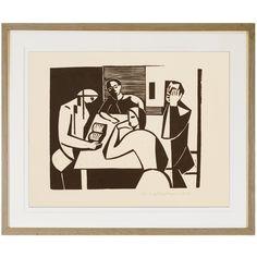 Woodcut on Paper by WALTER WOHLSCHLEGEL, 1953 Modern Art, Paper, Artwork, Work Of Art, Auguste Rodin Artwork, Contemporary Art