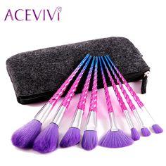 8 PCS Kit Escova de Maquiagem Profissional de Cosméticos Em Pó Fundação Brushes Set Escovas Delineador Compõem Escovar Kits Saco