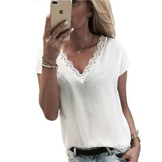 Lace patchwork blouse fashion 2018 women short sleeve V Neck loose cas – rricdress Blouson Rose, Chemises Sexy, Evening Dresses Plus Size, Casual Skirt Outfits, Sexy Shirts, Chiffon Shirt, Chiffon Tops, Look Chic, Blouse Styles