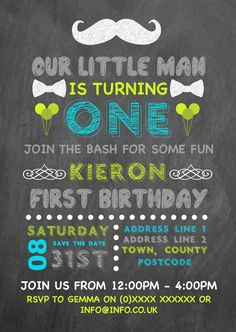 First Birthday Invitation designed by me at Nic's Designs.
