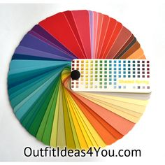 """This gorgeous color fan has60 colorsfrom the warmspring color palette. Folds up into a perfect size for carrying in your purse for shopping: 2.25"""" x 1"""" x 1"""" Each color in the fan has on the back:   Color: the name of the color Temperature: Warm, Cool or Neutral Wardrobe U"""