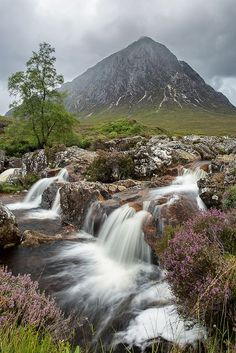 glen and waterfall, Buachaille Etive Mòr, highlands of Scotland.