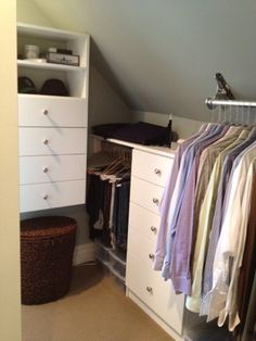 OP Closet Blog: An Organized Home Within Your Reach: Pitched \ Sloped Ceiling Closet Solution.  Hardware