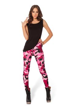 Camo Pink Leggings - LIMITED by Black Milk Clothing $60AUD