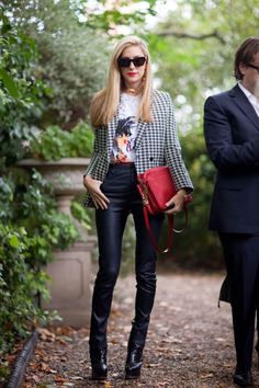 Joanna Hillman mixes up a jacket/leather J. Brand pants look with a whimsical tee