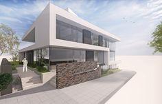Neubau Wohn- und Geschäftshaus in moderner #Architektur by www.flow-architektur.de #Bauhaus