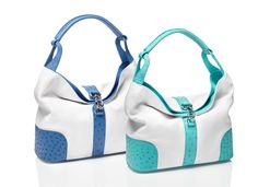 Kabo Summer Bag - white nappa with ostrich leather applications in Clemaris and Crystal Blue