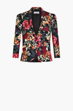 Flowers printed sable crepe jacket - sonia rykiel