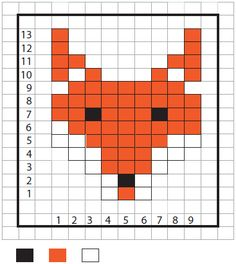 duplicate stitch pattern for a fox, free knitting pattern Knitting Charts, Loom Knitting, Knitting Stitches, Knitting Patterns Free, Free Knitting, Baby Knitting, Stitch Patterns, Crochet Patterns, Knitting Machine