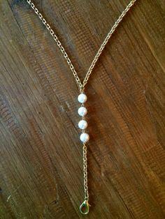 Lanyard Gold Lanyard Beaded Lanyard Pearl by MermaidBeadsJewelry