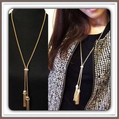 Gold Tassel with Rhinestones Necklace NIP Beautiful gold toned tassel necklace with rhinestones. NEW IN PACKAGE Jewelry Necklaces