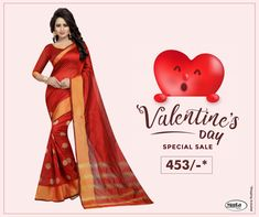 Get Valentine's Day ready without spending thousands of bucks. Check Valentine's Day offers now. Valentine Day Offers, Valentine Day Special, Sale Of The Day, Secondary Color, Half Sleeves, Aurora Sleeping Beauty, Saree, Silk, Check