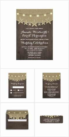 Rustic Starfish WEDDING SET COLLECTION Ocean Beach String Twinkle Lights Romantic Pretty Personalized Wedding Invites Announcements Invitations RSVP Envelopes Address Labels Thank You Cards & More!