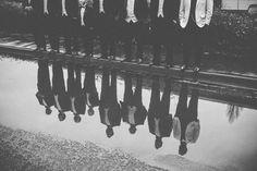 Black tie winter wedding rain