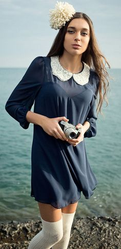 LOVE Navy Pearl Collar Dress