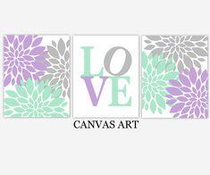 Baby Girl Nursery Wall Art Lavender Purple Mint Green Gray Flower Dahlia Mums Floral Girl Bedroom Canvas Prints Baby…