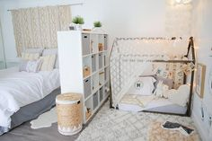 Montessori bedroom - Baby Makes Three A Shared Master Bedroom & Nursery with Global Style — My Room — Apartment Therapy Baby Bedroom, Girls Bedroom, Two Bedroom, Trendy Bedroom, Bedroom Small, Small Space Nursery, Bedroom Rugs, Bedroom Modern, Adult Bedroom Decor