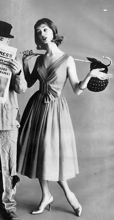 1958 Dolores Hawkins in sheer cotton crêpe de chine dress by Nathan & Strong, Vogue