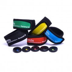 Color Samples of Terry Cloth Wristband with Accompanying BlueTag for Bluetooth Child Safety Tracking Device