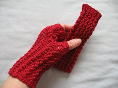 White or Garnet Red Cotton Lacy Hand Knit Fingerless by ginaminda