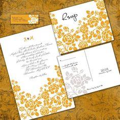 Custom Rose Wedding Invitation Set - Sample Packet - but in plum/aubergine