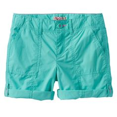 Girls 7-16 & Plus Size SO® Roll-Tab Neon Solid Utility Bermuda Shorts, Size: 16, Turquoise/Blue (Turq/Aqua)